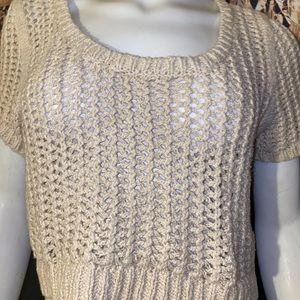 EUC Free People Open Knit Boho Crop Sweater